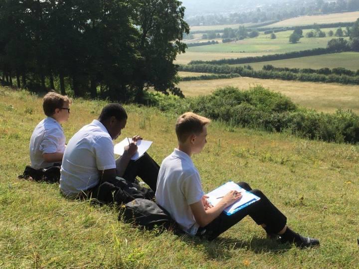 Boys sketching