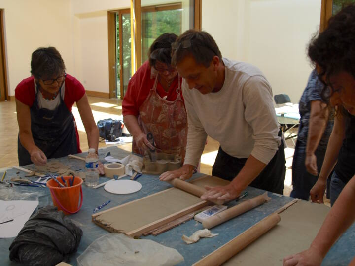 Russell Jakubowski leading workshop for artists