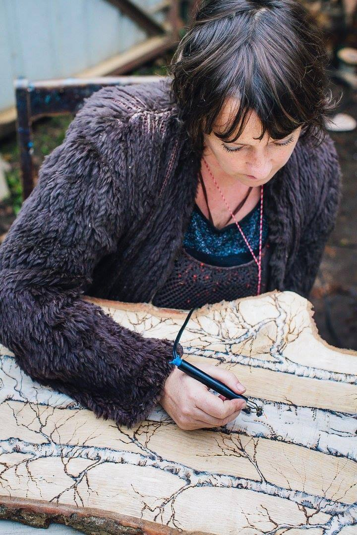 Ruth Wheeler demonstrating pyrography